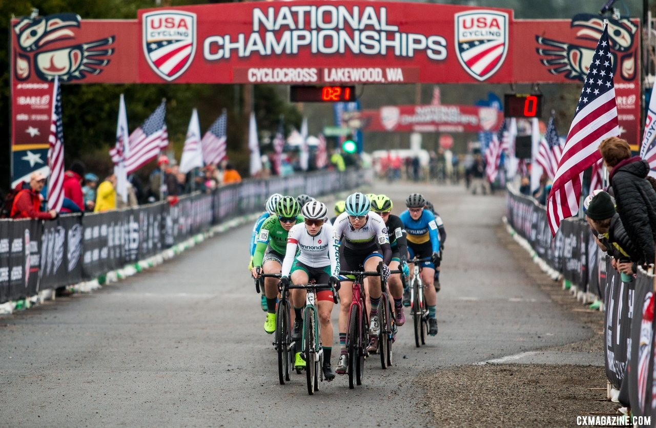 Clouse leads the field off the pavement on lap one. U23 Women. 2019 Cyclocross National Championships, Lakewood, WA. © A. Yee / Cyclocross Magazine