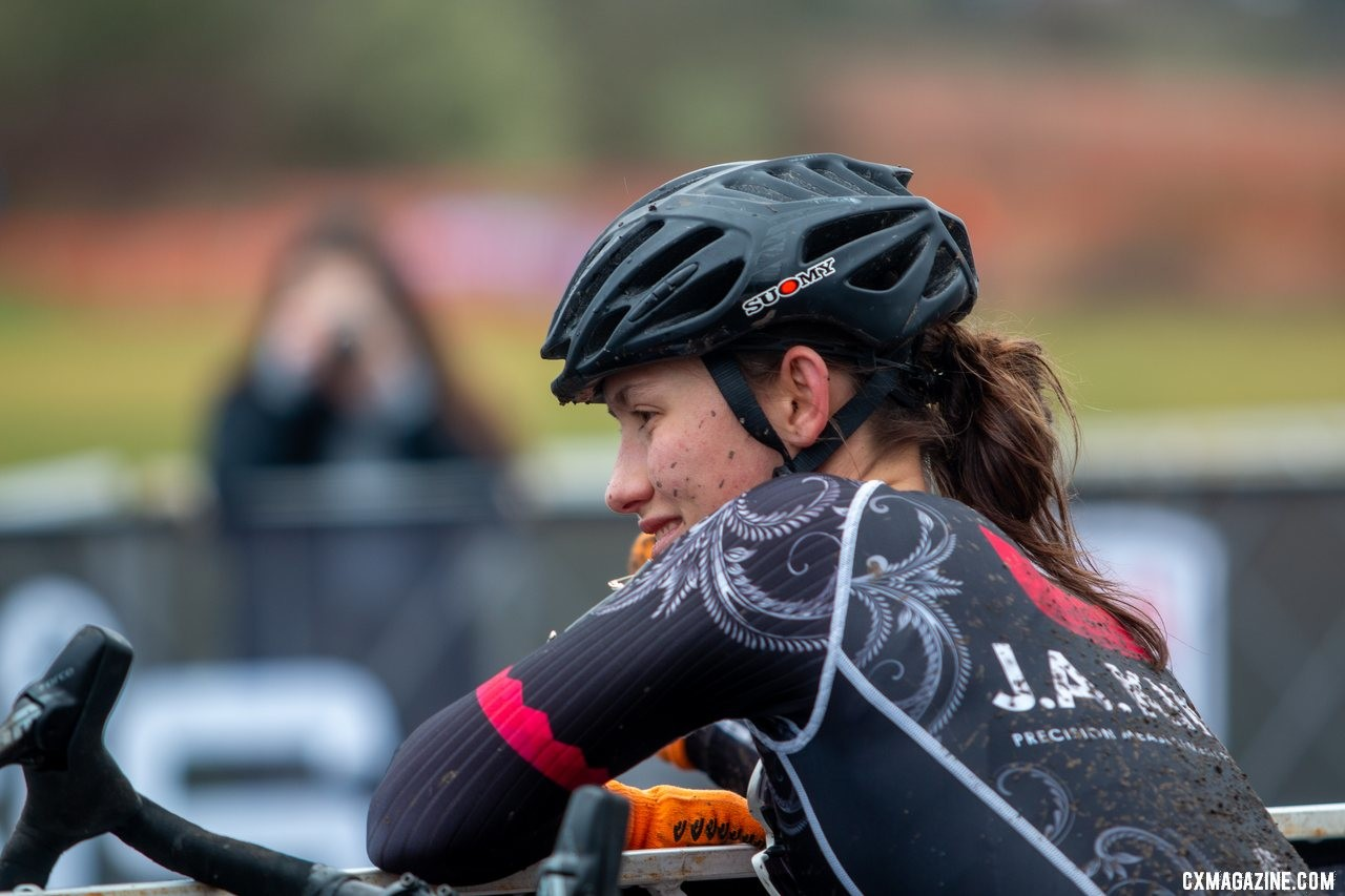 Hannah Arensman is all smiles as she looks forward to stepping onto the podium. U23 Women. 2019 Cyclocross National Championships, Lakewood, WA. © A. Yee / Cyclocross Magazine