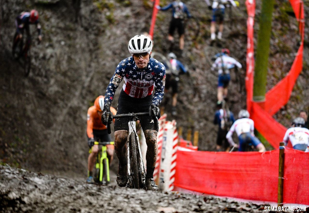 Andrew Strohmeyer has felt comfortable racing in Belgium, 2019 Namur UCI Cyclocross World Cup. © B. Hazen / Cyclocross Magazine