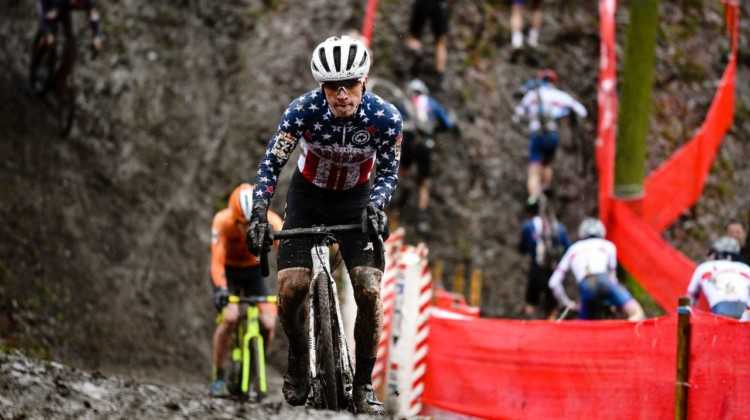 Andrew Strohmeyer tries to keep traction on a steep up. Junior Men, 2019 Namur UCI Cyclocross World Cup. © B. Hazen / Cyclocross Magazine