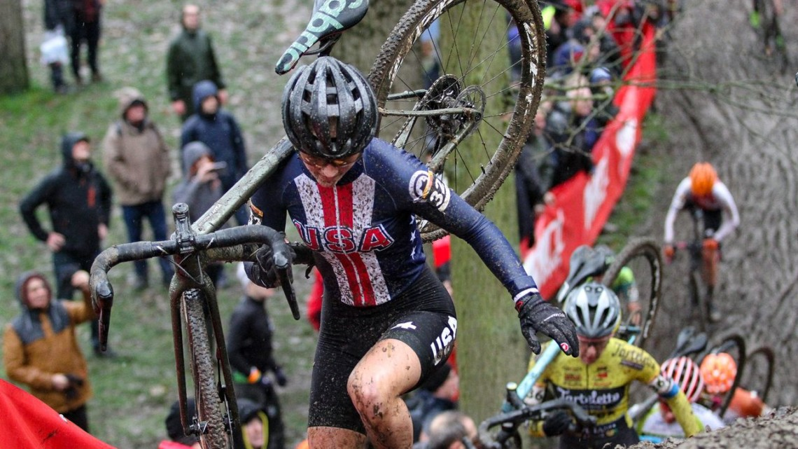 Lizzy Gunsalus summits the steep run-up. 2019 Namur UCI Cyclocross World Cup. © B. Hazen / Cyclocross Magazine