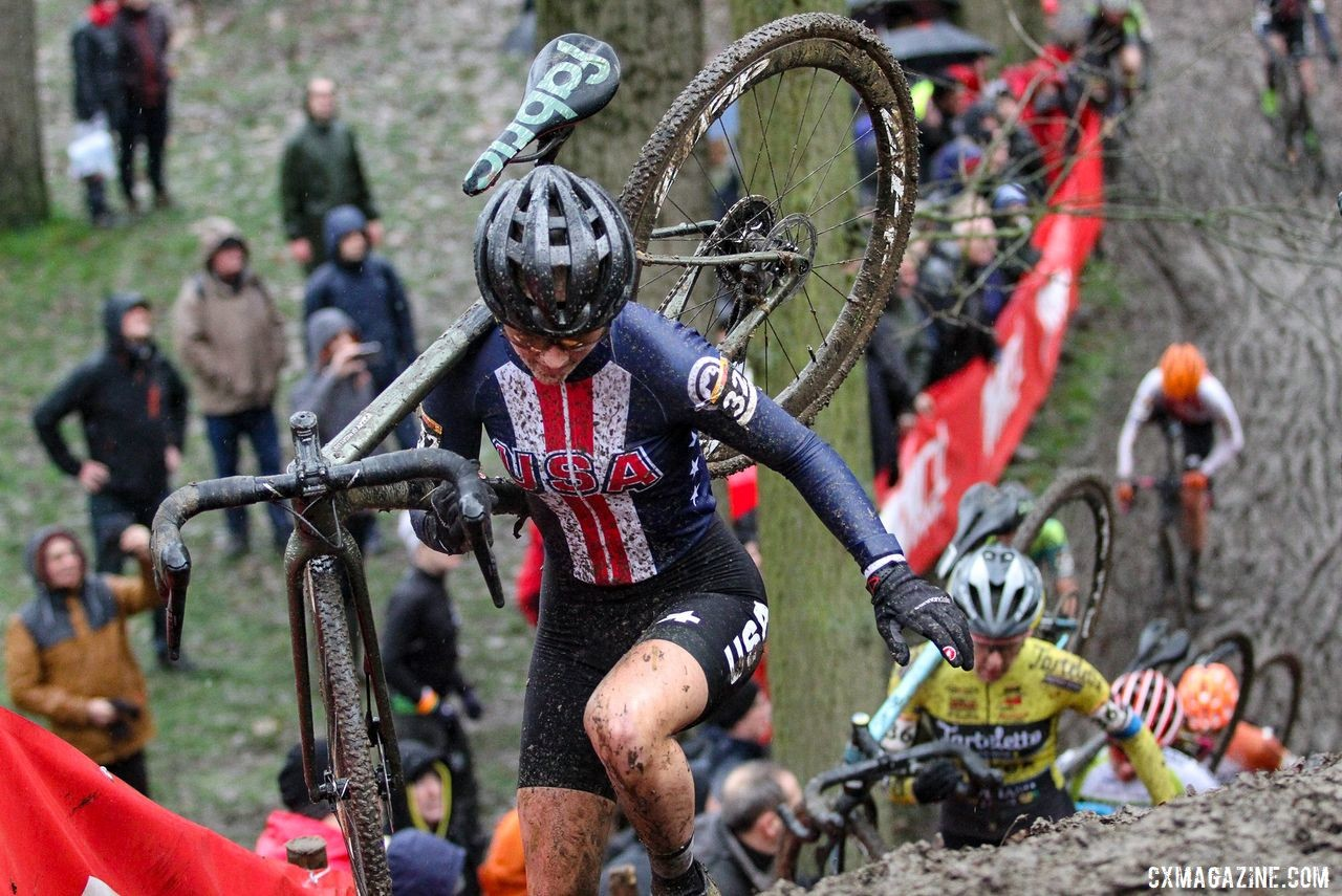 Lizzy Gunsalus' first Euro racing experience was at Namur. 2019 Namur UCI Cyclocross World Cup. © B. Hazen / Cyclocross Magazine