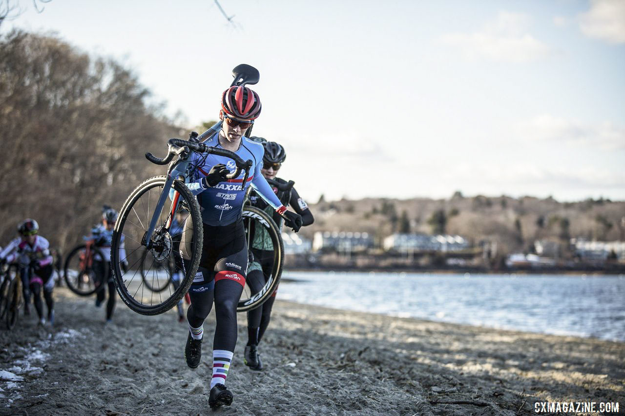 Ruby West leads an early charge along the beach. 2019 NBX Gran Prix of Cross Day 1. © Angelica Dixon