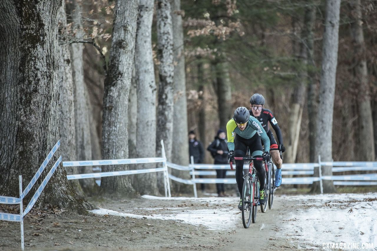 Ben Frederick and Sam Noel charge through the packed down sand. 2019 NBX Gran Prix of Cross Day 1. © Angelica Dixon