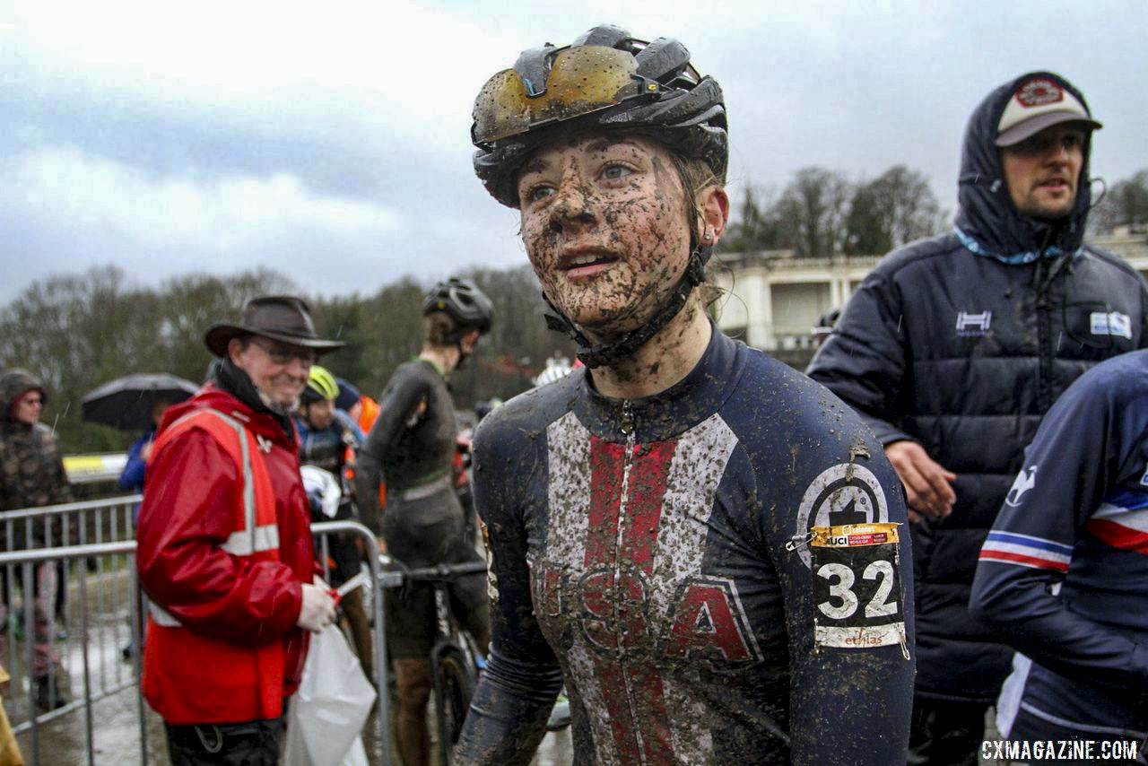 Lizzy Gunsalus has been able to represent Team USA with the USA Cycling Mud Fund. 2019 World Cup Namur. © B. Hazen / Cyclocross Magazine