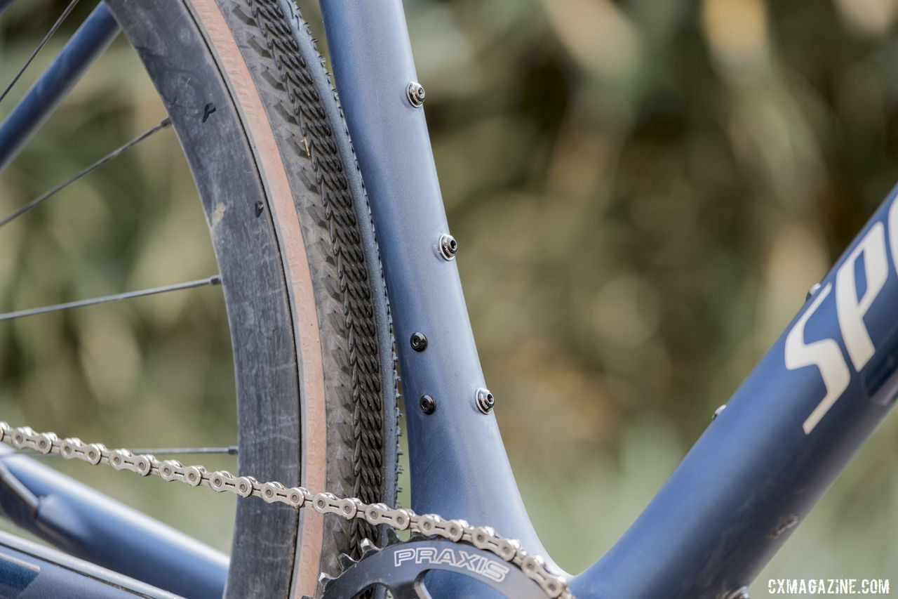 The seat tube features triple cage mounts for versatility. 2020 Specialized Diverge Expert Gravel Bike. © C. Lee / Cyclocross Magazine