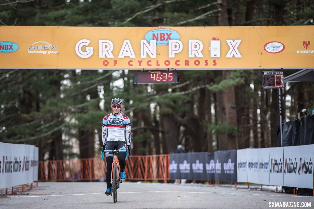 No T-Rex on Sunday as Rebecca Fahringer celebrates her win. 2019 NBX Gran Prix of Cross Day 2. © Angelica Dixon
