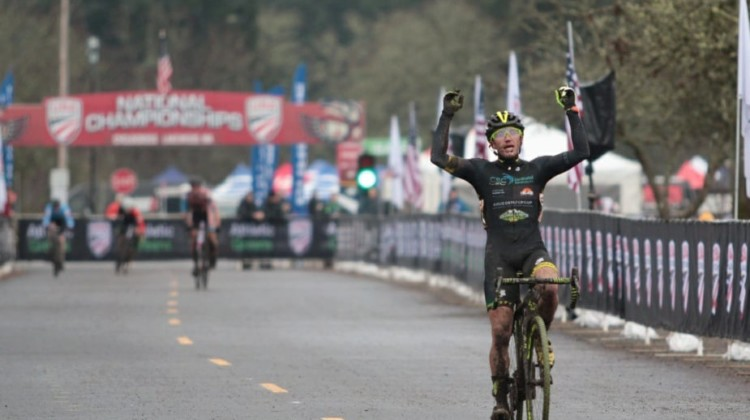 Caleb Thompson won the Masters Men 35-39 race at the 2019 Cyclocross National Championships. © A. Yee / Cyclocross Magazine