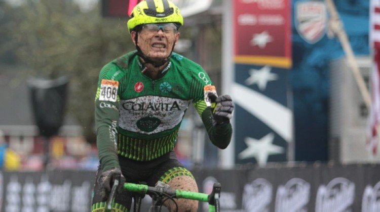 Harry Hamilton took the win in the Masters Men 60-64 race on Wednesday. © A. Yee / Cyclocross Magazine