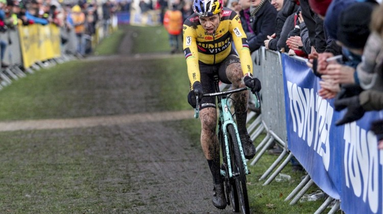 Wout van Aert battled hard and finished fifth. 2019 Azencross, Loenhout. © B. Hazen / Cyclocross Magazine