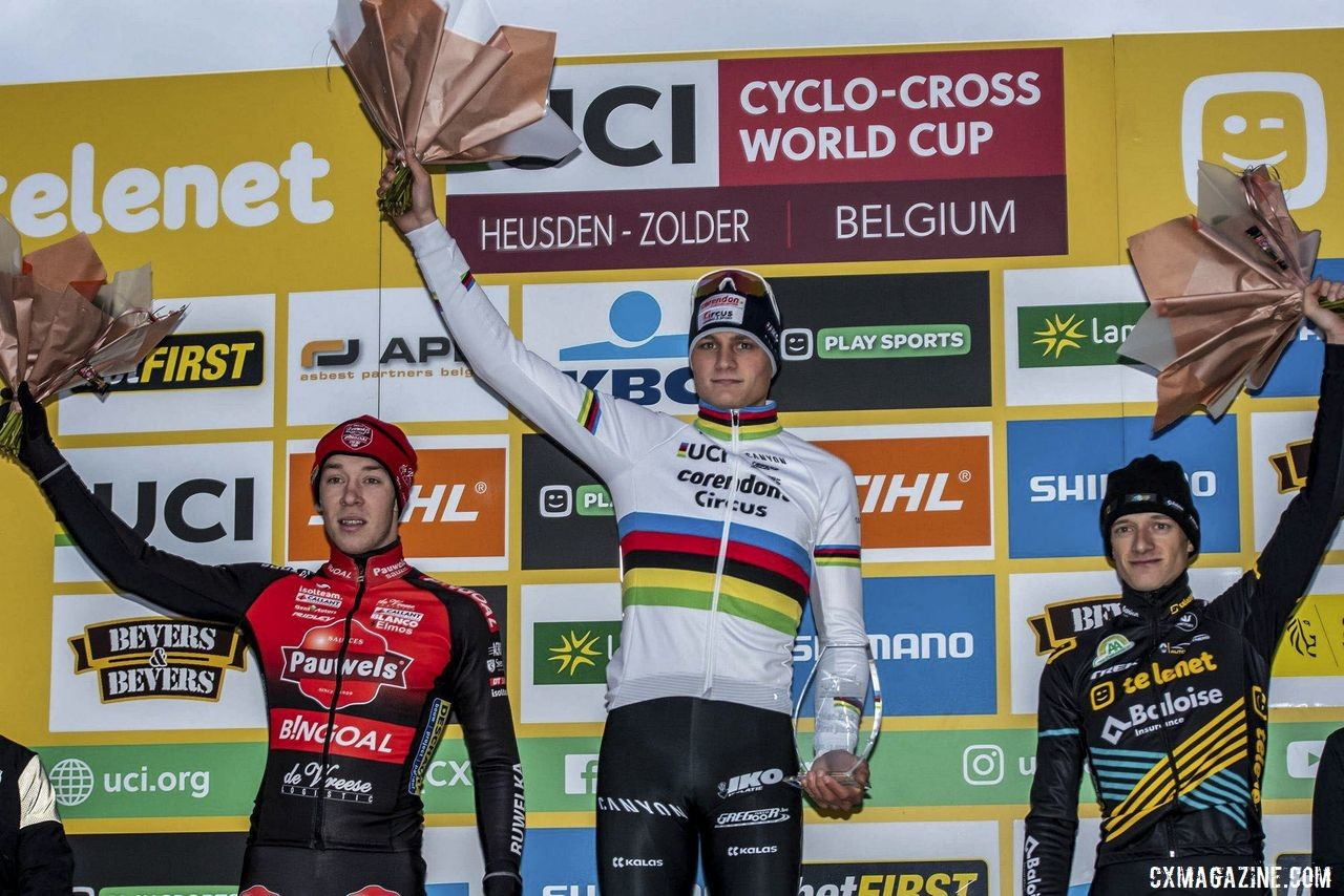 Elite Men's podium: Mathieu van der Poel, Laurens Sweeck and Quinten Hermans. 2019 World Cup Zolder. © B. Hazen / Cyclocross Magazine