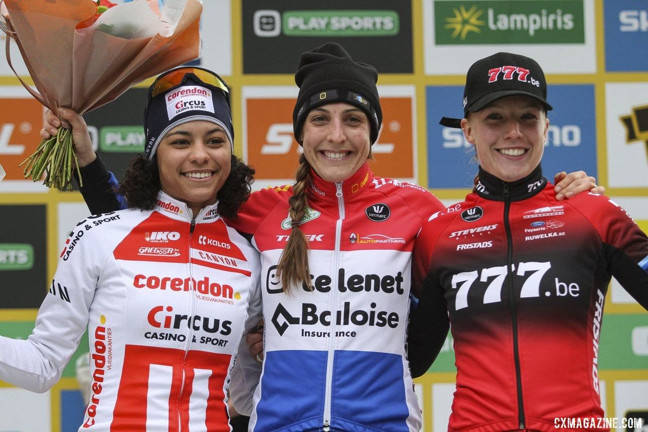 Elite Women's podium: Lucinda Brand, Ceylin Alvarado and Annemarie Worst. 2019 World Cup Zolder. © B. Hazen / Cyclocross Magazine