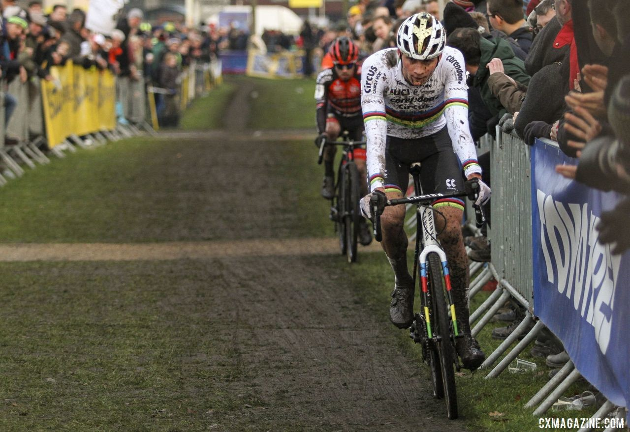 Van der Poel eventually caught and passed Iserbyt for the win. 2019 Azencross, Loenhout. © B. Hazen / Cyclocross Magazine