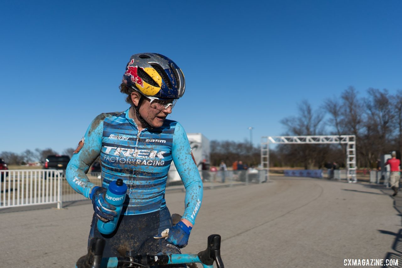 Ellen Noble takes a moment after winning Day 1 at Ruts n' Guts2019 Ruts n' Guts. © P. Means / Cyclocross Magazine