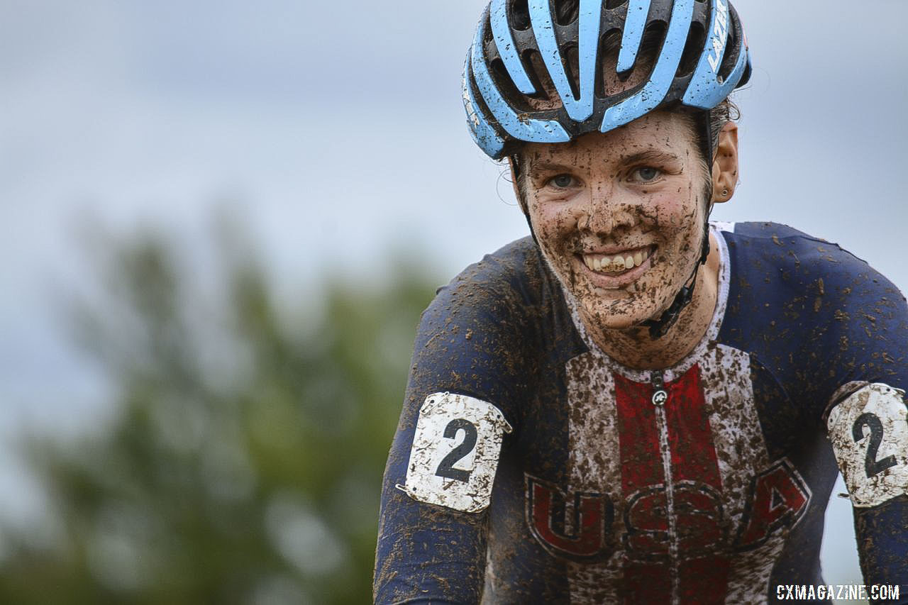 Clara Honsinger, an Oregon native, was right at home at FayetteCross earlier this year. © Neil Schirmer