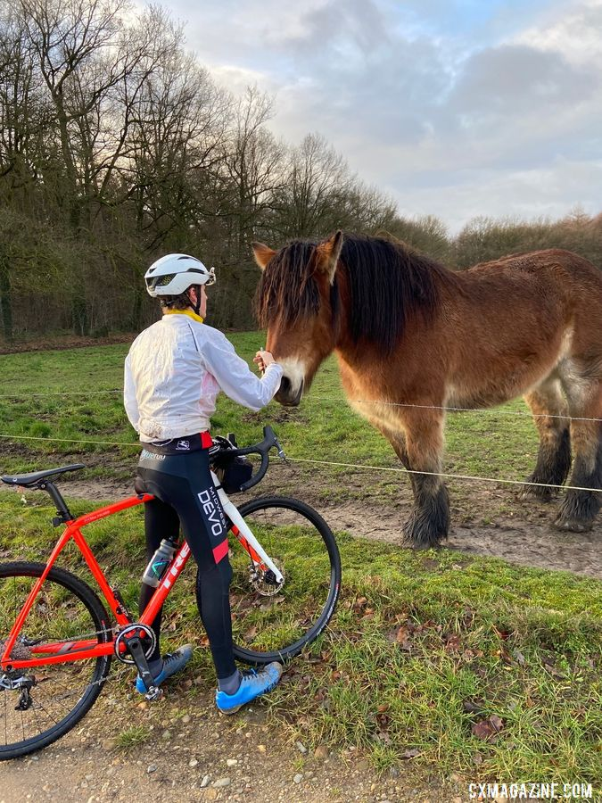 Max Palmer meets the locals during a training ride. photo: Eleanor Dyas