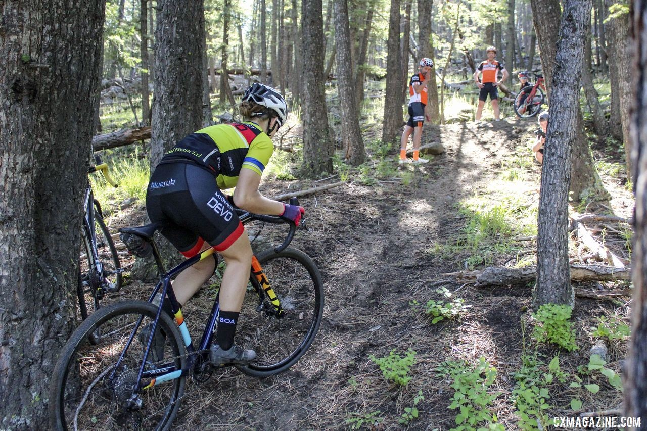 """Eleanor Dyas climbs the """"Sven Hill"""" at MontanaCrossCamp. © Z. Schuster / Cyclocross Magazine"""