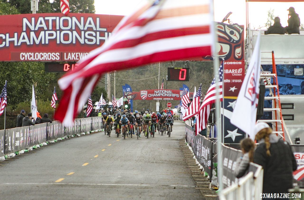 Libbey Sheldon led out the Masters Women 50-54 holeshot. © Cyclocross Magazine