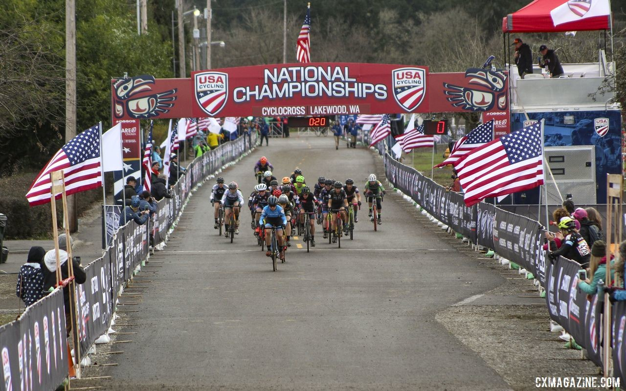 Tricia Fleischer leads the way down the start straight in the Masters Women 40-44 race. © Cyclocross Magazine