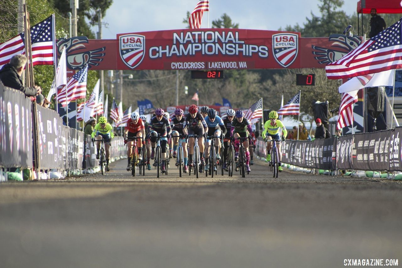 The Masters Women 35-39 roll down the start straight. © Cyclocross Magazine