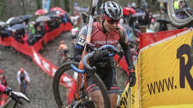 Practicing some of the technical sections paid off for Fahringer on race day. 2019 World Cup Namur. © B. Hazen / Cyclocross Magazine
