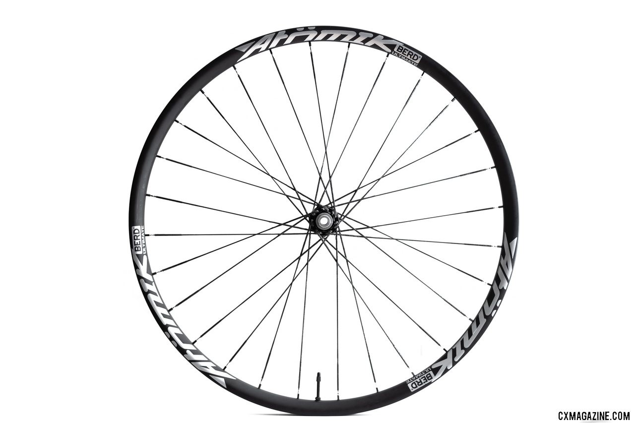 Reduced rotating weight and more comfortable ride? That's the claim. Stay tuned to see if we can tell. Atomik's Ultimate Berd carbon tubeless wheels with Berd polyethylene spokes. © Cyclocross Magazine