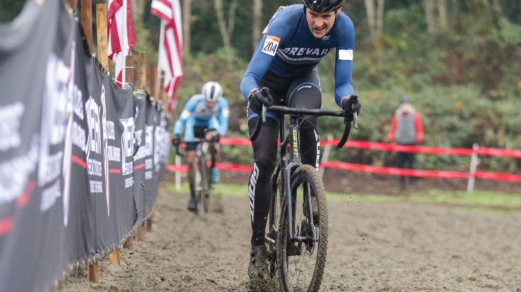 Perley leads through the sand. Masters Men 30-34. 2019 Cyclocross National Championships, Lakewood, WA. © D. Mable / Cyclocross Magazine
