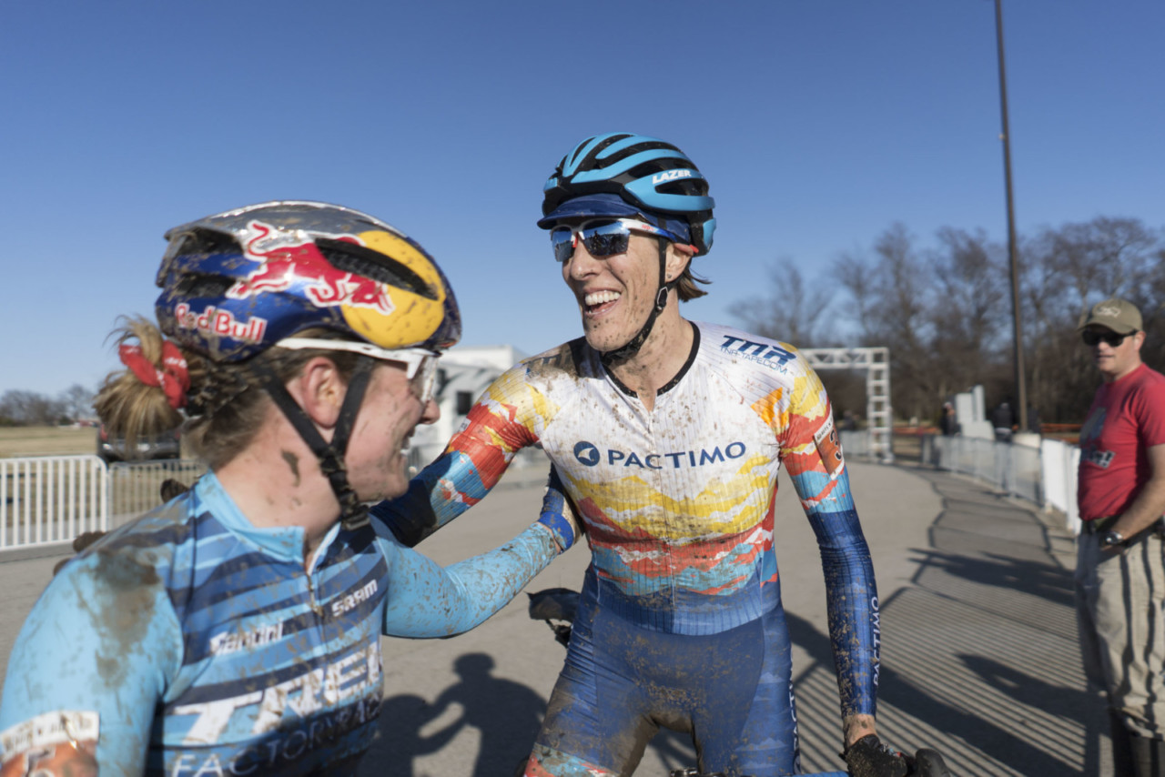 Sunny Gilbert and Ellen Noble share a laugh after Saturday's race. 2019 Ruts n' Guts Day 1. © P. Means / Cyclocross Magazine