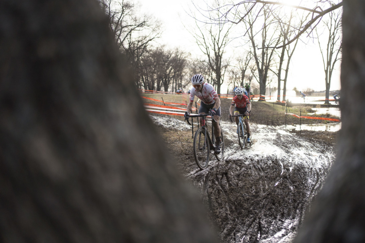 Michael van den Ham and Lance Haidet battled at the front for the duration of Saturday's race. 2019 Ruts n' Guts Day 1. © P. Means / Cyclocross Magazine