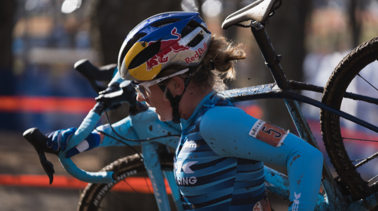 Ellen Noble shouldered her bike for parts of the course and ran (and rode) to a Sunday win. 2019 Ruts n' Guts Day 2. © P. Means / Cyclocross Magazine