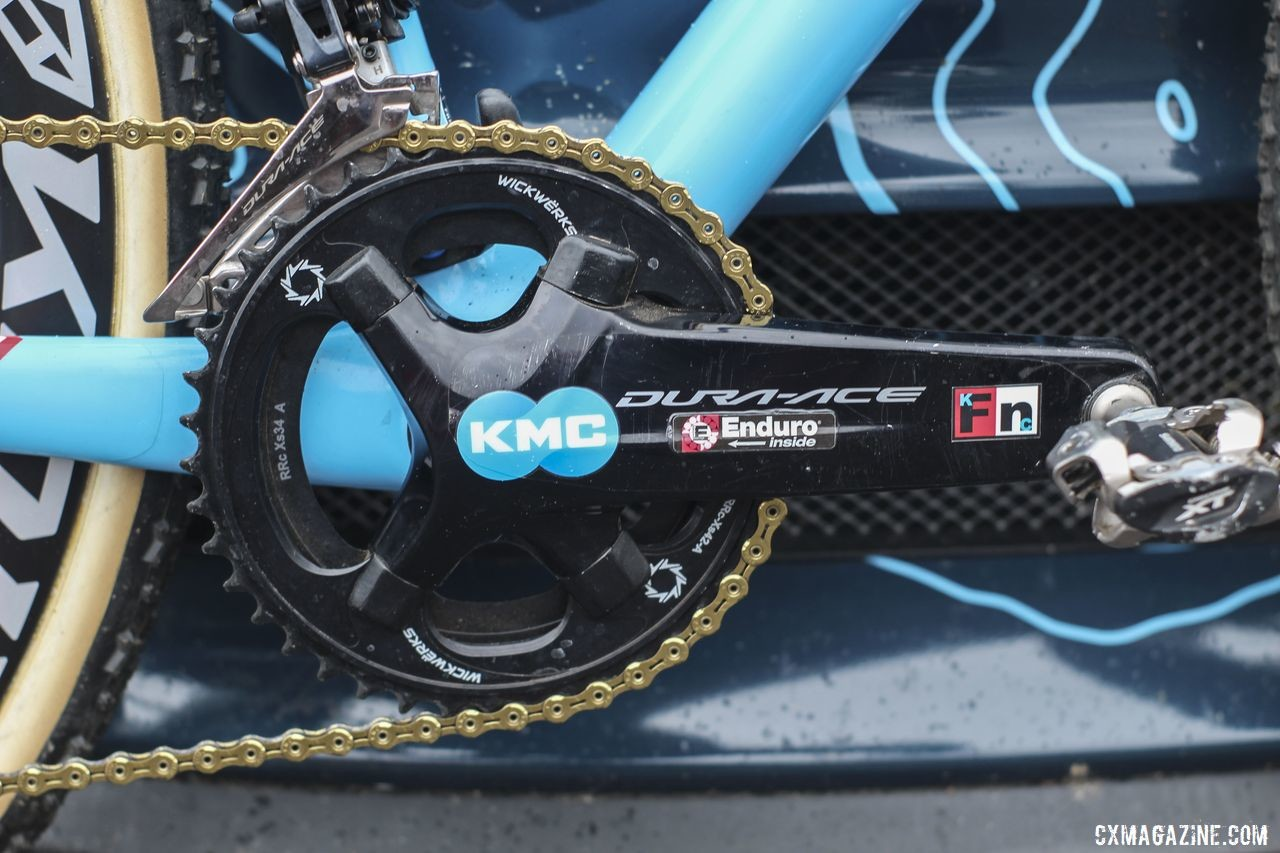 Compton ran a Dura-Ace R9100 crankset with 175mm crankarms. Her chain rings are WickWerks 42/34t. Katie Compton's 2019 Trek Boone. © Z. Schuster / Cyclocross Magazine