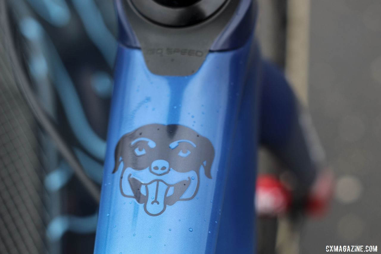 Thanks to this graphic, Compton's rottweiler Pixie is always along for the ride with her. Katie Compton's 2019 Trek Boone. © Z. Schuster / Cyclocross Magazine