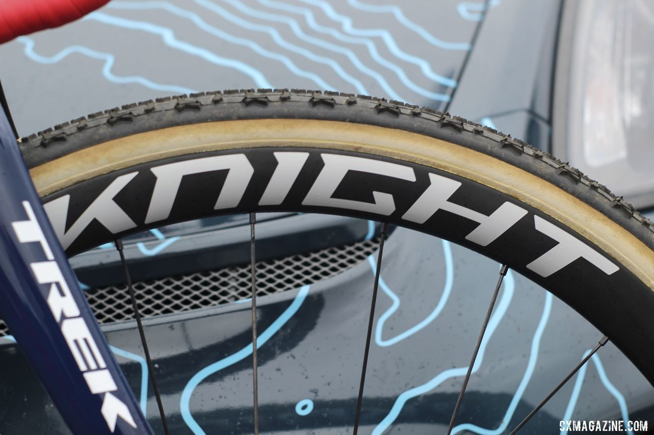 Compton is going on a half-decade with Boulder's Knight Composities as her wheel sponsor. She ran the 35 Tubular Disc carbon wheels this year. Katie Compton's 2019 Trek Boone. © Z. Schuster / Cyclocross Magazine