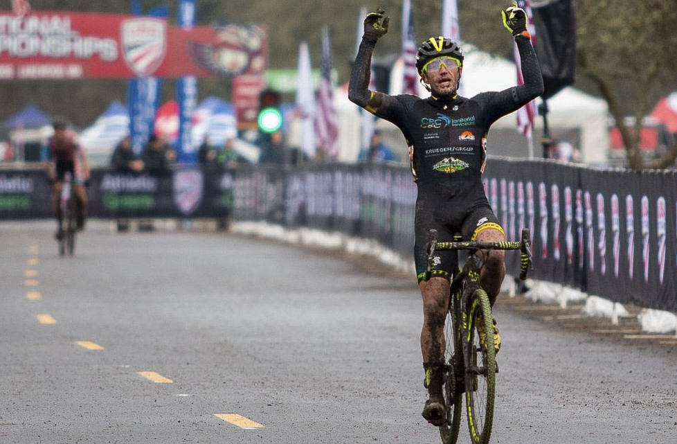 Caleb Thompson celebrates his win after a patient race. Masters Men 35-39. 2019 Cyclocross National Championships, Lakewood, WA. © A. Yee / Cyclocross Magazine