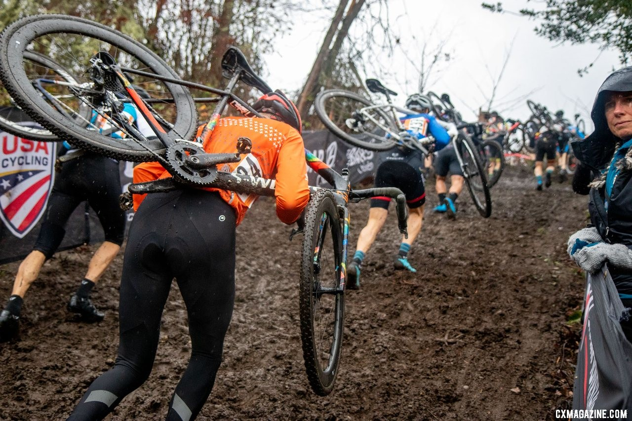 The Masters Men 60-64 riders charge up the second run-up. Masters Men 60-64. 2019 Cyclocross National Championships, Lakewood, WA. © A. Yee / Cyclocross Magazine