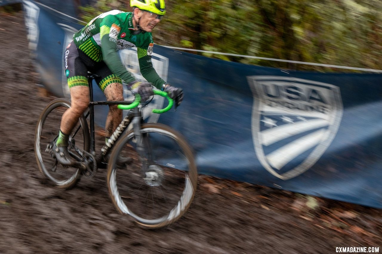 Harry Hamilton rolls down the descent toward his Masters 60-64 win. Masters Men 60-64. 2019 Cyclocross National Championships, Lakewood, WA. © A. Yee / Cyclocross Magazine