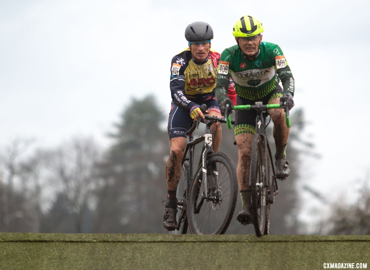 Harry Hamilton and Jay Trojan battle at the front of the Masters Men 60-64 race. Masters Men 60-64. 2019 Cyclocross National Championships, Lakewood, WA. © A. Yee / Cyclocross Magazine