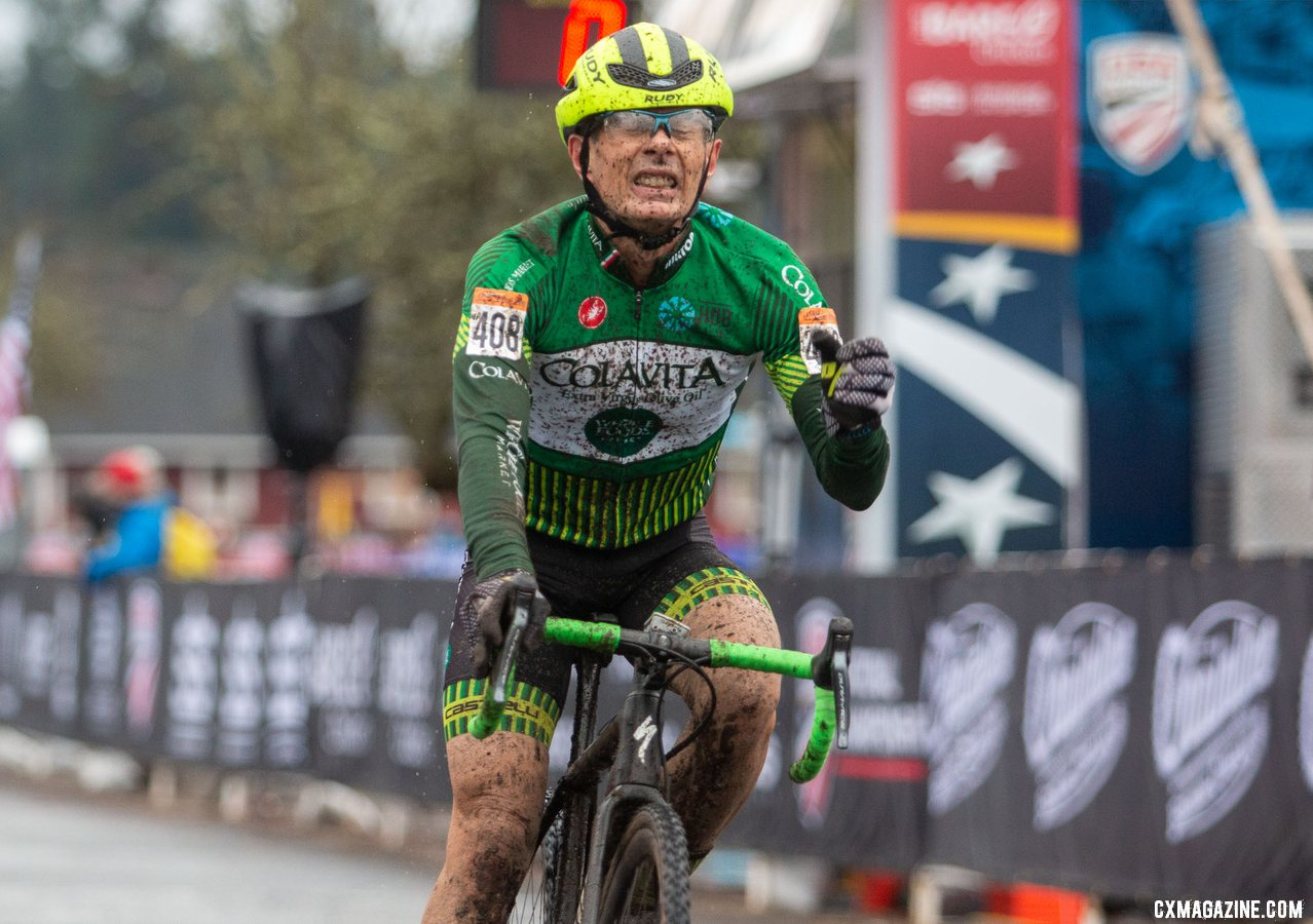 Harry Hamilton celebrates his gritty Wednesday win. Masters Men 60-64. 2019 Cyclocross National Championships, Lakewood, WA. © A. Yee / Cyclocross Magazine