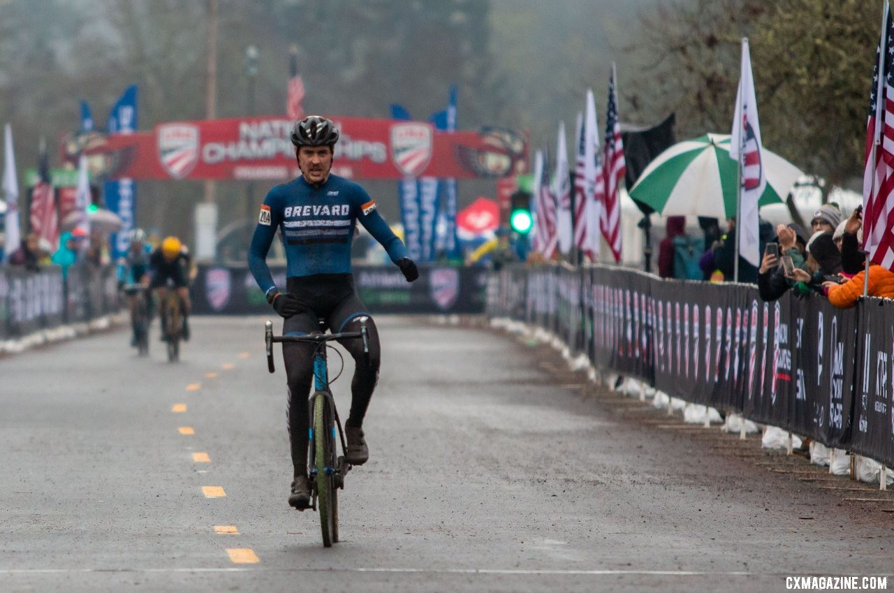 Perley celebrates his win after pass Schmalz as he ran to the pits. Masters 30-34 Men. 2019 Cyclocross National Championships, Lakewood, WA. © A. Yee / Cyclocross Magazine