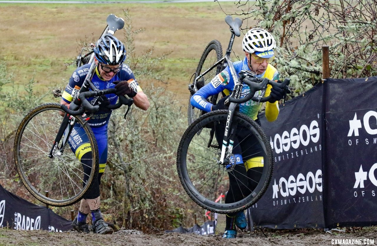 Smith and Curley were locked in a battle for the ages. Masters Men 65-69. 2019 Cyclocross National Championships, Lakewood, WA. © D. Mable / Cyclocross Magazine