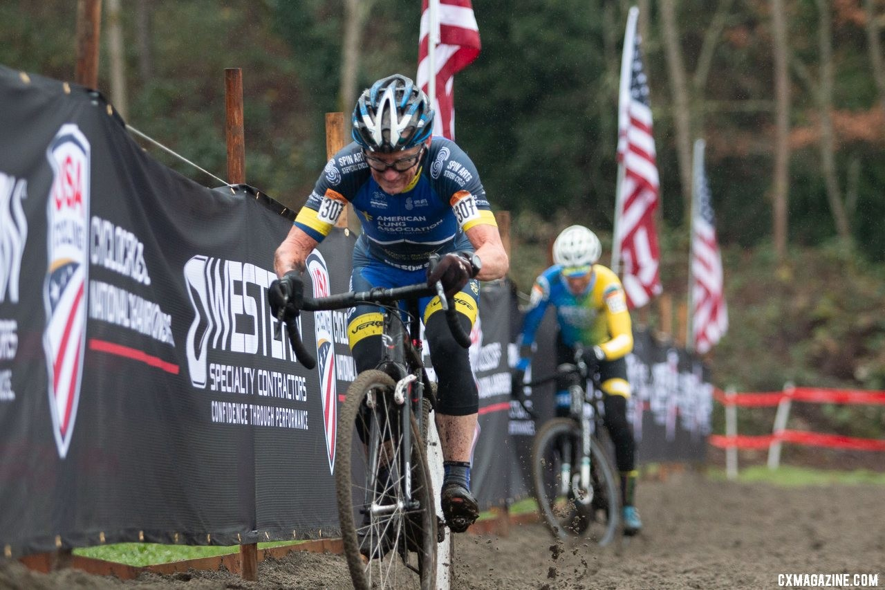 Smith bobbled on the second-to-last lap through the sand, and it looked like the race was over but he rejoined Curley by the pavement. Masters Men 65-69. 2019 Cyclocross National Championships, Lakewood, WA. © A. Yee / Cyclocross Magazine