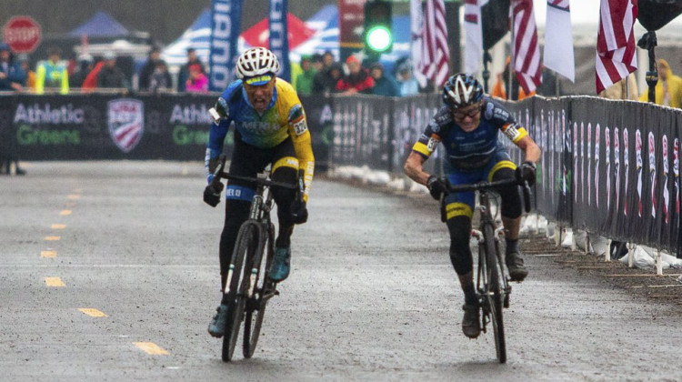 Paul Curley and George Smith had a battle for the ages with five lead changes on the last lap. Masters Men 65-69. 2019 Cyclocross National Championships, Lakewood, WA. © A. Yee / Cyclocross Magazine