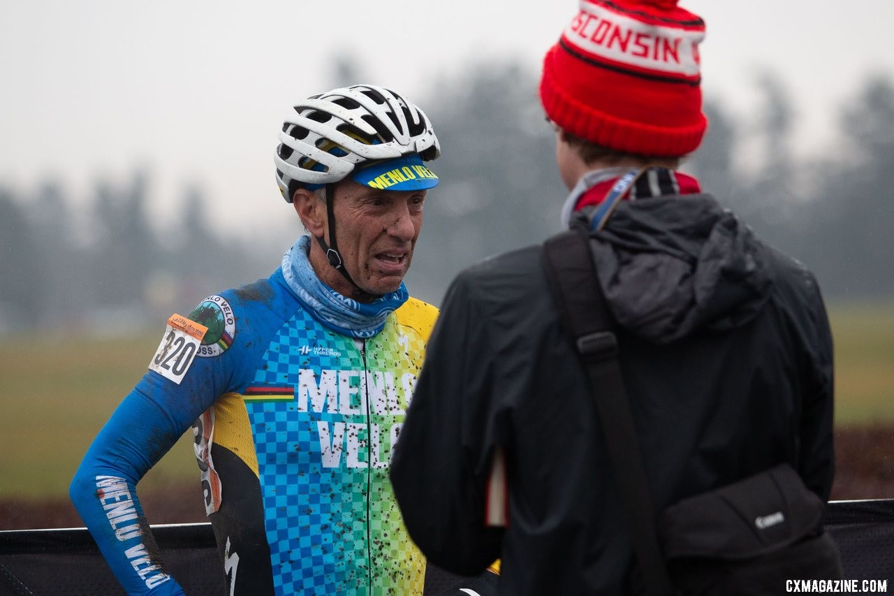Smith was second three times but was emotional after his win. Masters Men 65-69. 2019 Cyclocross National Championships, Lakewood, WA. © A. Yee / Cyclocross Magazine