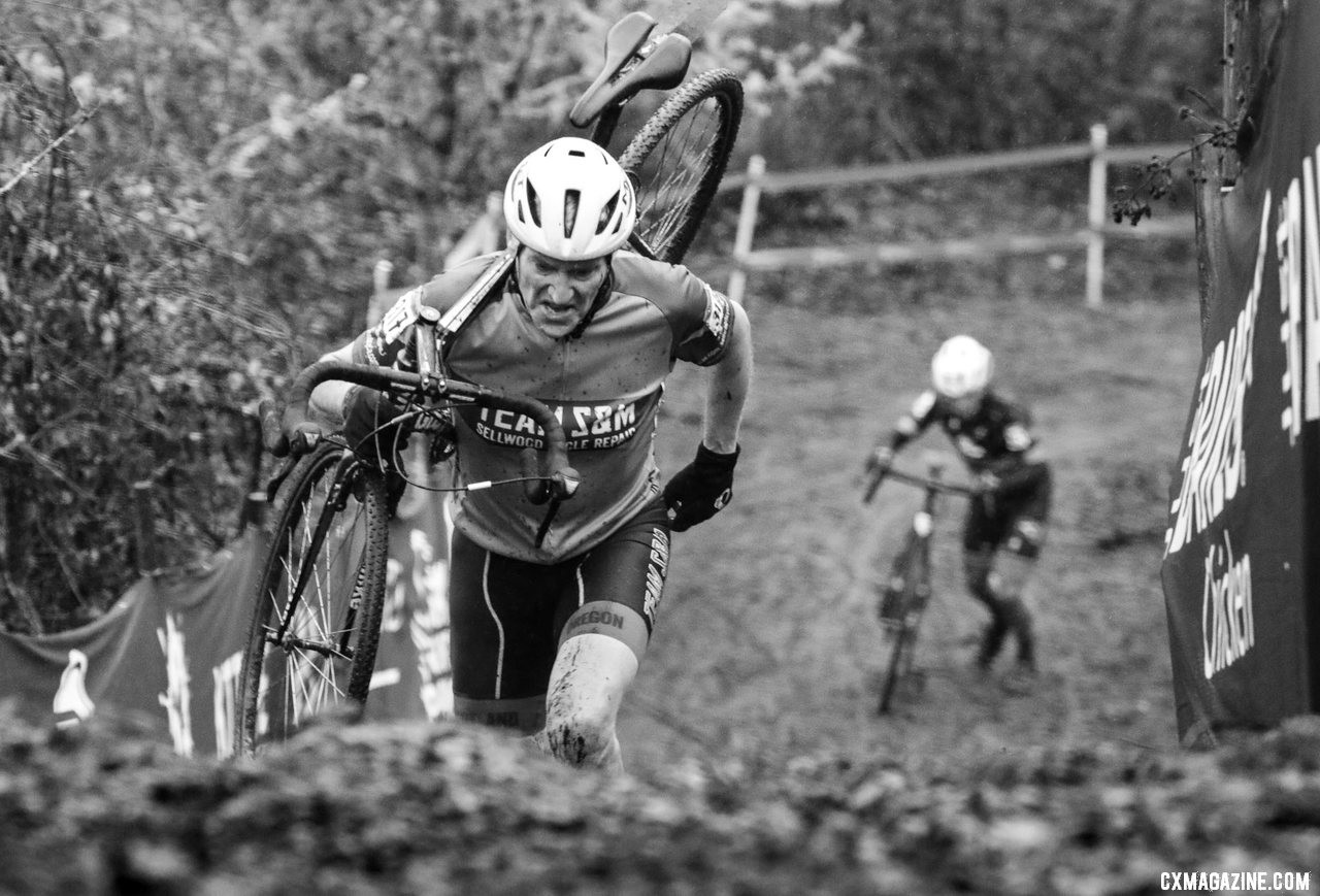Mark Schwyhart had a strong second half of the race to finish third. Masters Men 65-69. 2019 Cyclocross National Championships, Lakewood, WA. © D. Mable / Cyclocross Magazine