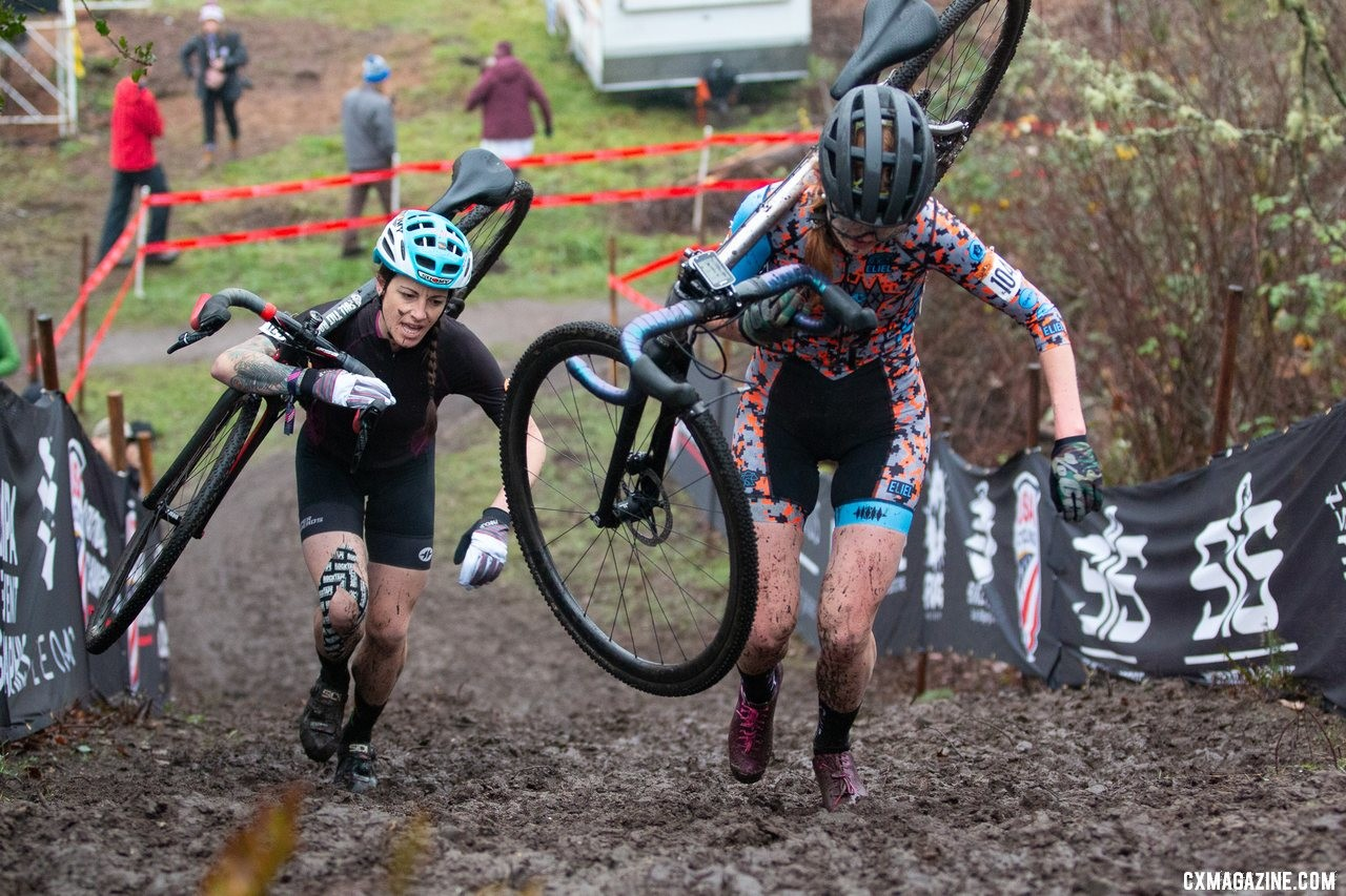Halpin and Greaser give chase in their battle for third. 2019 Cyclocross National Championships, Lakewood, WA. © A. Yee / Cyclocross Magazine