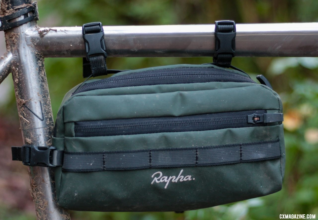 The Rapha Handlebar Bag also doubles as a mini frame bag. © Cyclocross Magazine