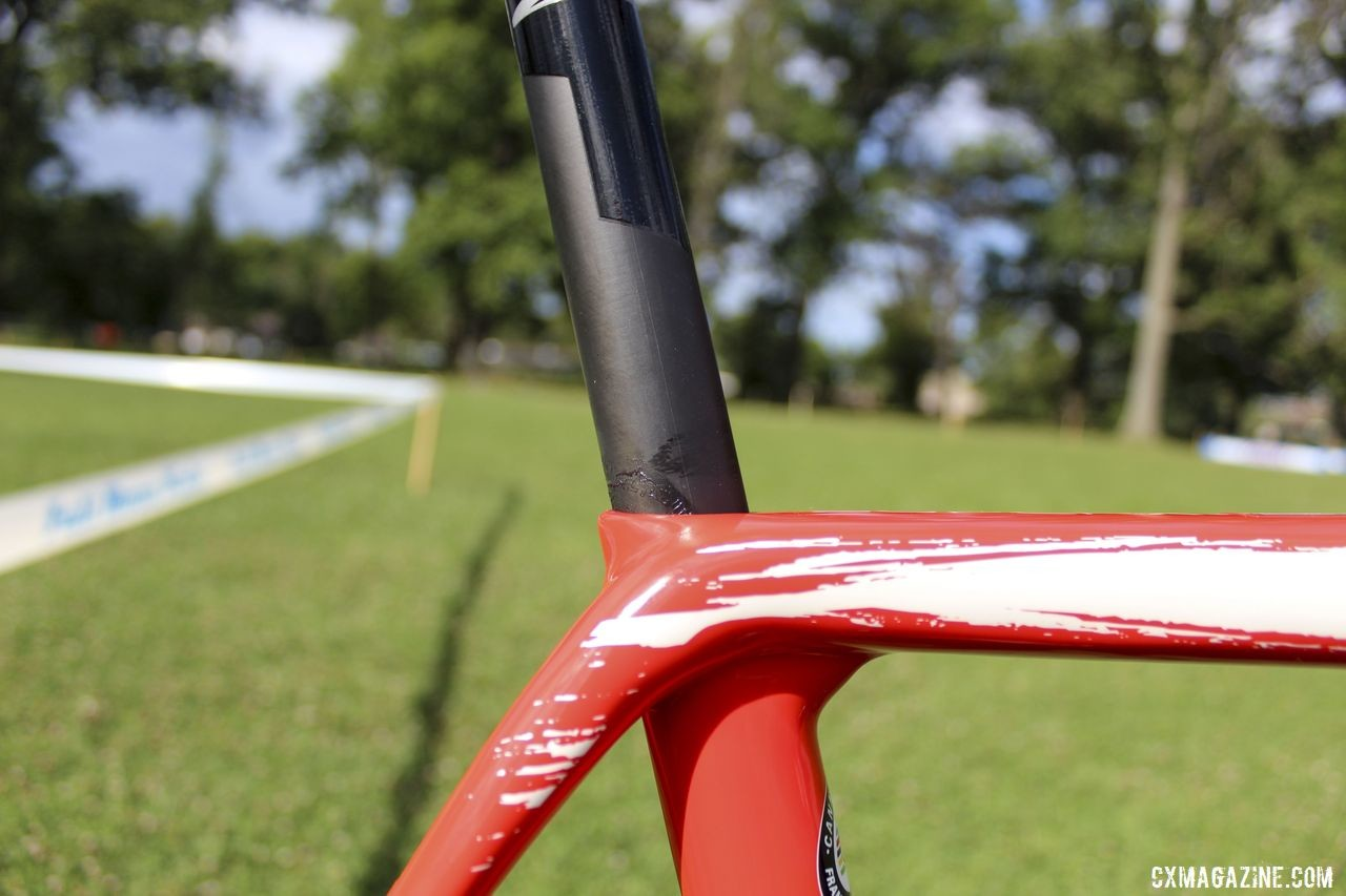The SuperX eschews a seatpost clamp for a hidden. integrated seatpost binder. Stephen Hyde's 2019 Cannondale SuperX. © Z. Schuster / Cyclocross Magazine