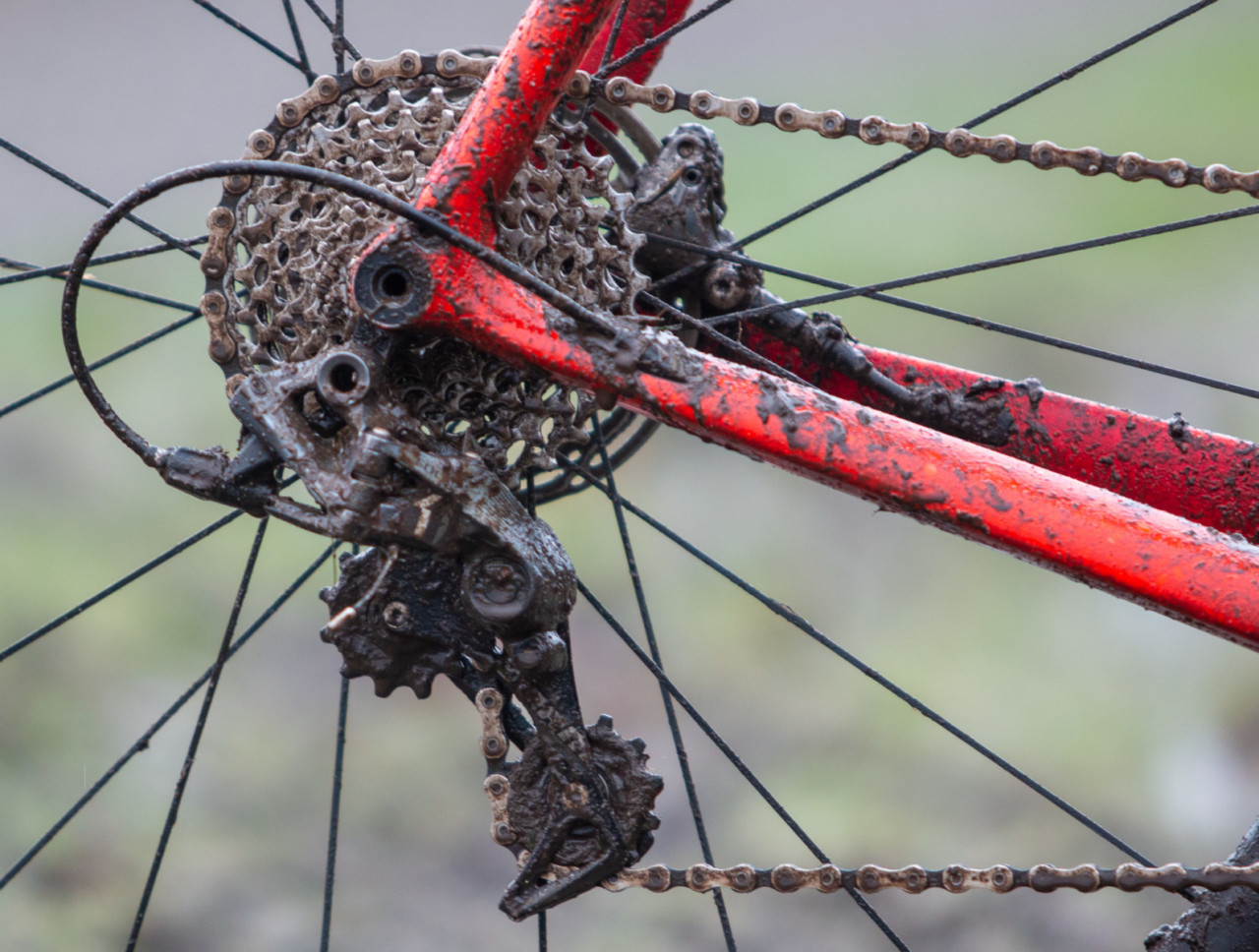 Myrah's Force 1 rear derailleur uses a clutch to enhance chain retention and reduce chain slap. Don Myrah's Ibis Hakka MX. 2019 USA Cycling Cyclocross National Championships bike profiles, Lakewood, WA. © A. Yee / Cyclocross Magazine