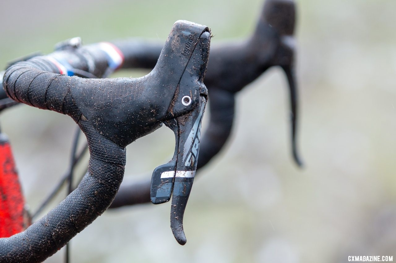 Force 1 dual control levers offer hydraulic braking and Double Tap shifting. Don Myrah's Ibis Hakka MX. 2019 USA Cycling Cyclocross National Championships bike profiles, Lakewood, WA. © A. Yee / Cyclocross Magazine