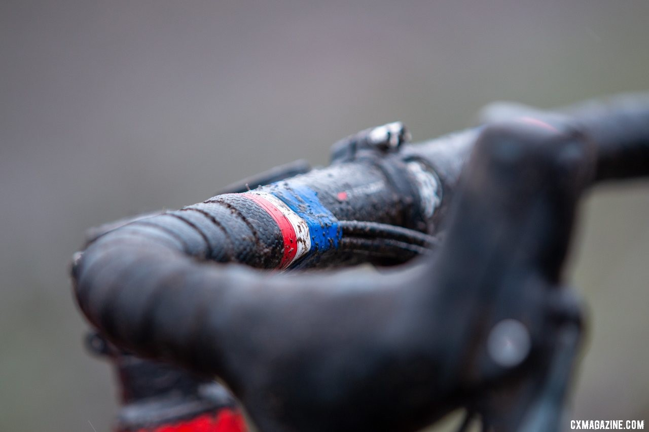 Who says finishing tape can't include National Champion bands? Don Myrah's Ibis Hakka MX. 2019 USA Cycling Cyclocross National Championships bike profiles, Lakewood, WA. © A. Yee / Cyclocross Magazine
